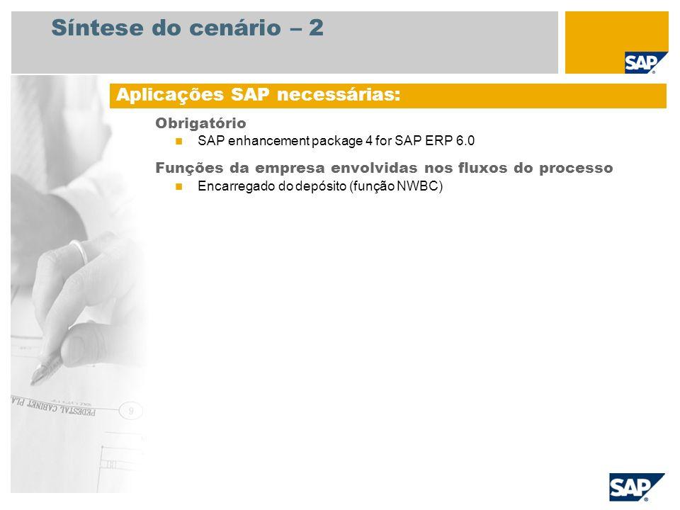 Síntese do cenário – 2 Obrigatório SAP enhancement package 4 for SAP ERP 6.0 Funções da empresa envolvidas nos fluxos do processo Encarregado do depós