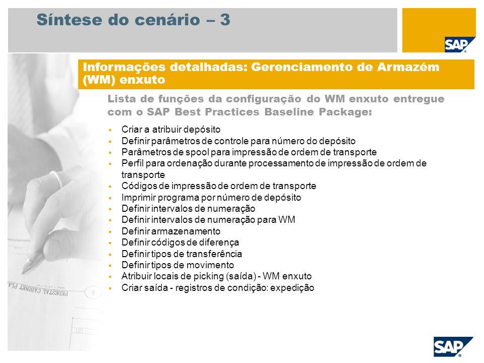 Síntese do cenário – 3 Lista de funções da configuração do WM enxuto entregue com o SAP Best Practices Baseline Package: Informações detalhadas: Geren