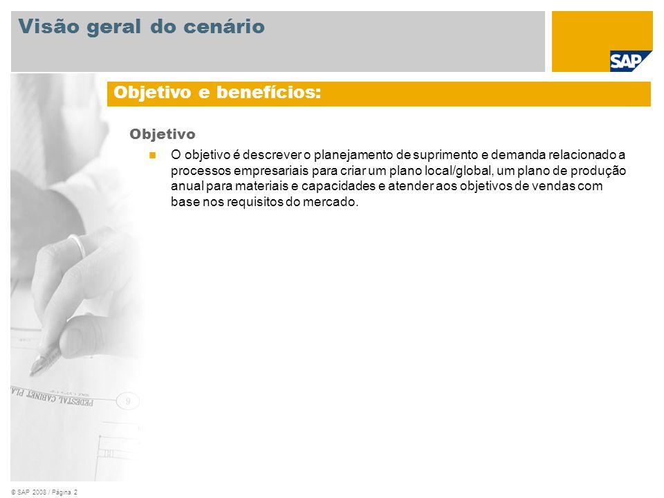 © SAP 2008 / Página 2 Objetivo O objetivo é descrever o planejamento de suprimento e demanda relacionado a processos empresariais para criar um plano