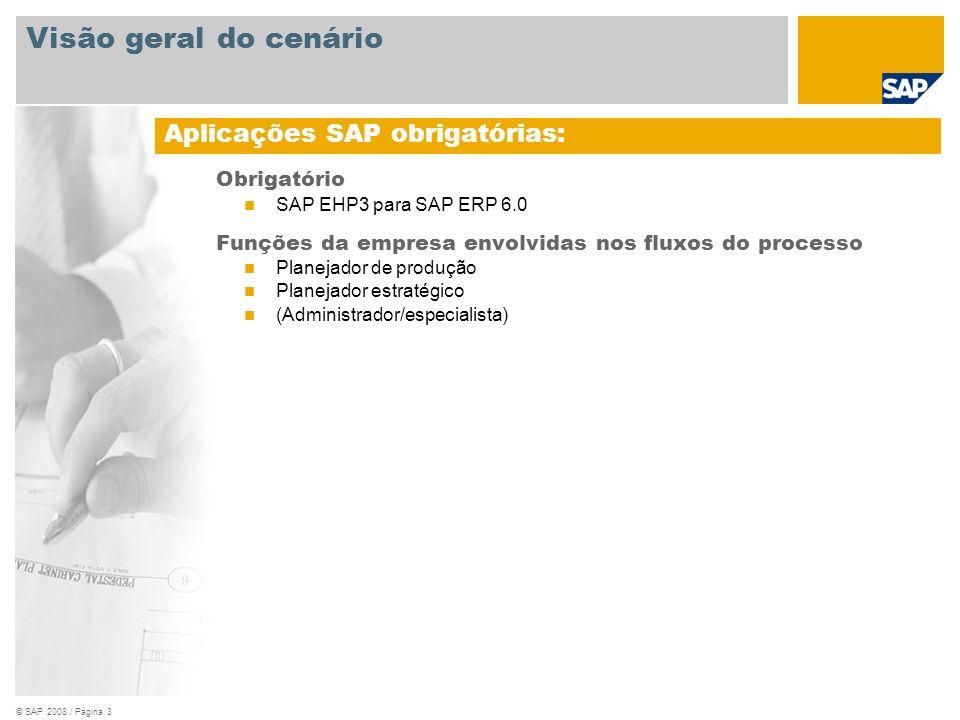 © SAP 2008 / Página 3 Obrigatório SAP EHP3 para SAP ERP 6.0 Funções da empresa envolvidas nos fluxos do processo Planejador de produção Planejador est