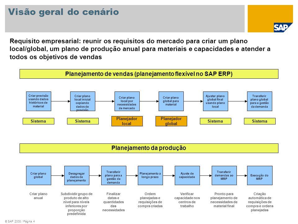 © SAP 2008 / Página 4 Visão geral do cenário Criar plano local por necessidades de mercado Criar previsão usando dados históricos de material Transfer