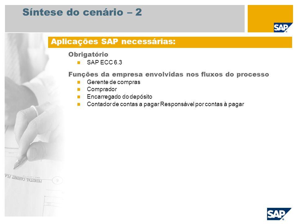 Síntese do cenário – 2 Obrigatório SAP ECC 6.3 Funções da empresa envolvidas nos fluxos do processo Gerente de compras Comprador Encarregado do depósi