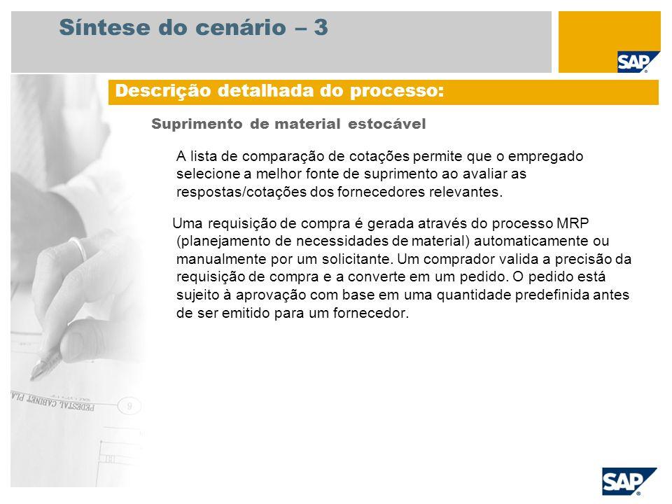 Síntese do cenário – 3 Suprimento de material estocável A lista de comparação de cotações permite que o empregado selecione a melhor fonte de suprimen