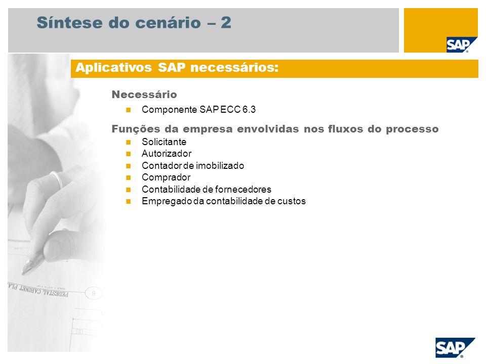 Síntese do cenário – 2 Necessário Componente SAP ECC 6.3 Funções da empresa envolvidas nos fluxos do processo Solicitante Autorizador Contador de imob