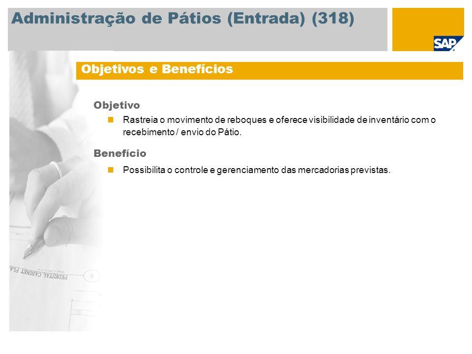 Administração de Pátios (Entrada) (318) Objetivos e Benefícios Objetivo Rastreia o movimento de reboques e oferece visibilidade de inventário com o re