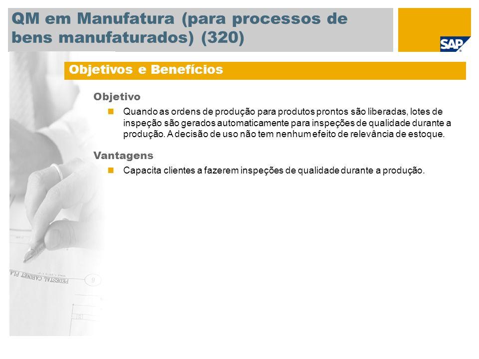 QM em Manufatura (para processos de bens manufaturados) (320) Objetivos e Benefícios Objetivo Quando as ordens de produção para produtos prontos são l