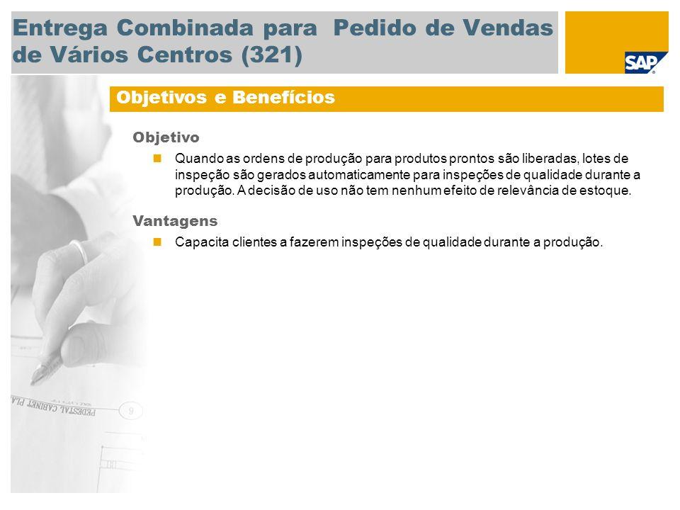 Entrega Combinada para Pedido de Vendas de Vários Centros (321) Objetivos e Benefícios Objetivo Quando as ordens de produção para produtos prontos são