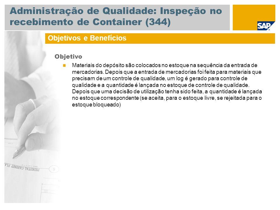 Administração de Qualidade: Inspeção no recebimento de Container (344) Objetivos e Benefícios Objetivo Materiais do depósito são colocados no estoque