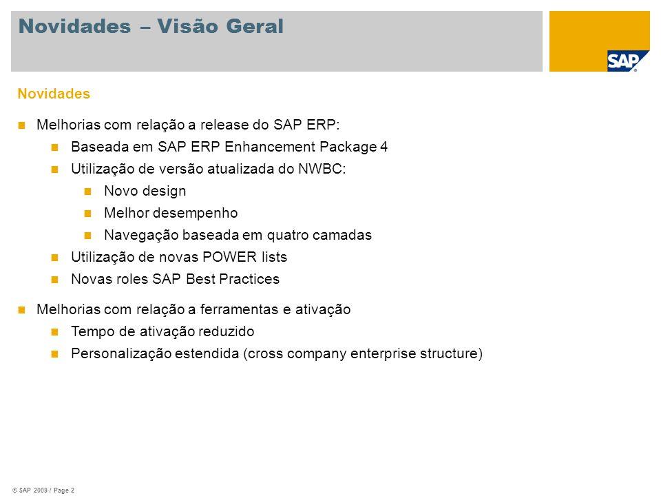 © SAP 2009 / Page 2 Novidades Melhorias com relação a release do SAP ERP: Baseada em SAP ERP Enhancement Package 4 Utilização de versão atualizada do