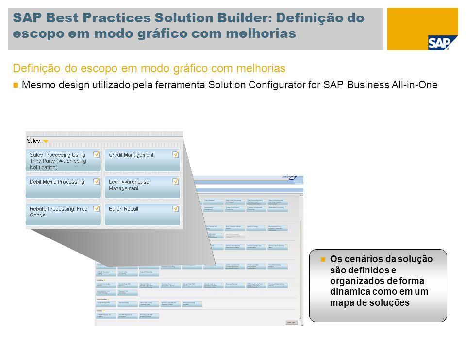 SAP Best Practices Solution Builder: Definição do escopo em modo gráfico com melhorias Definição do escopo em modo gráfico com melhorias Mesmo design