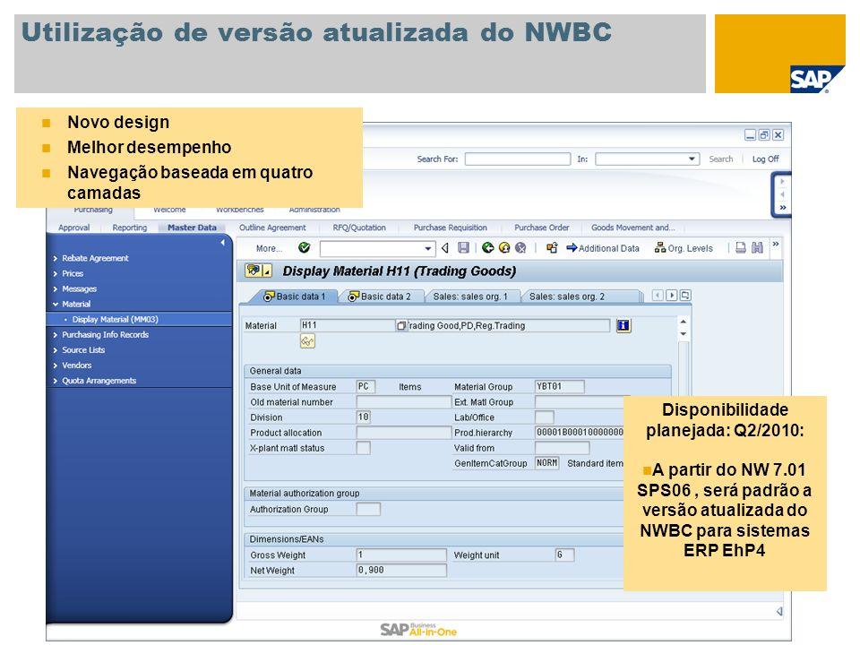 Utilização de versão atualizada do NWBC Novo design Melhor desempenho Navegação baseada em quatro camadas Disponibilidade planejada: Q2/2010: A partir