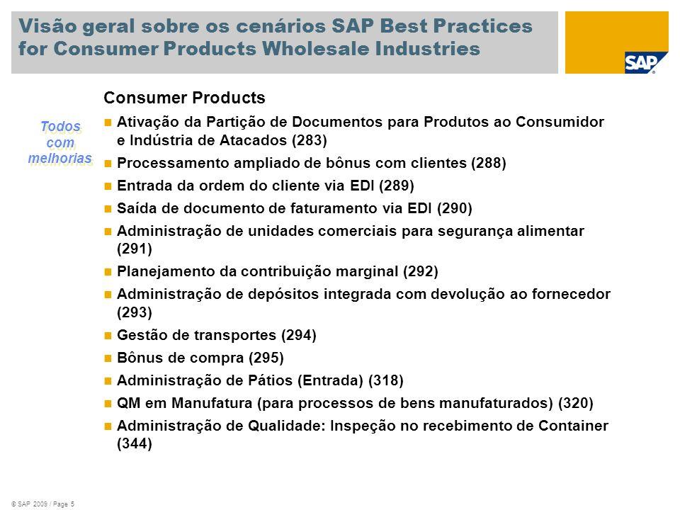 © SAP 2009 / Page 6 Visão geral sobre os cenários SAP Best Practices for Consumer Products Wholesale Industries Wholesale Distribution Agrupamento otimizado de pedidos (296) Processamento ampliado de ordens do cliente com suporte de vendas e proposta dinâmica de produto (297) Saída de aviso de entrega via EDI (298) Entrada de aviso de entrega via EDI (299) Administração de pátios (300) Entrega Combinada para Pedido de Vendas de Vários Centros (321) Processamento da ordem do cliente com entrega de outra planta (323) Todos com melhorias