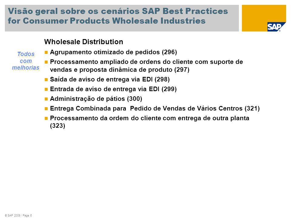 © SAP 2007 / Page 7 Novos Cenários SAP Best Practices for CP/WSD Brazil V1.604 fornece os seguintes novos cenários : Administração de Pátios (Entrada) (318) Ativação da Partição de Documentos para Produtos ao Consumidor e Indústria de Atacados (283) Entrada da ordem do cliente via EDI (289) Saída de documento de faturamento via EDI (290) QM em Manufatura (para processos de bens manufaturados) (320) Administração de Qualidade: Inspeção no recebimento de Container (344) Saída de aviso de entrega via EDI (298) Entrada de aviso de entrega via EDI (299)