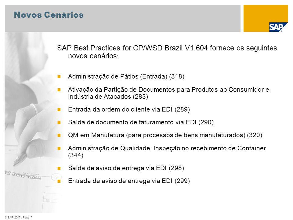 © SAP 2007 / Page 8 Novos Cenários SAP Best Practices for CP/WSD Brazil V1.604 fornece os seguintes novos cenários : Entrega Combinada para Pedido de Vendas de Vários Centros (321) Processamento da ordem do cliente com entrega de outra planta (323)
