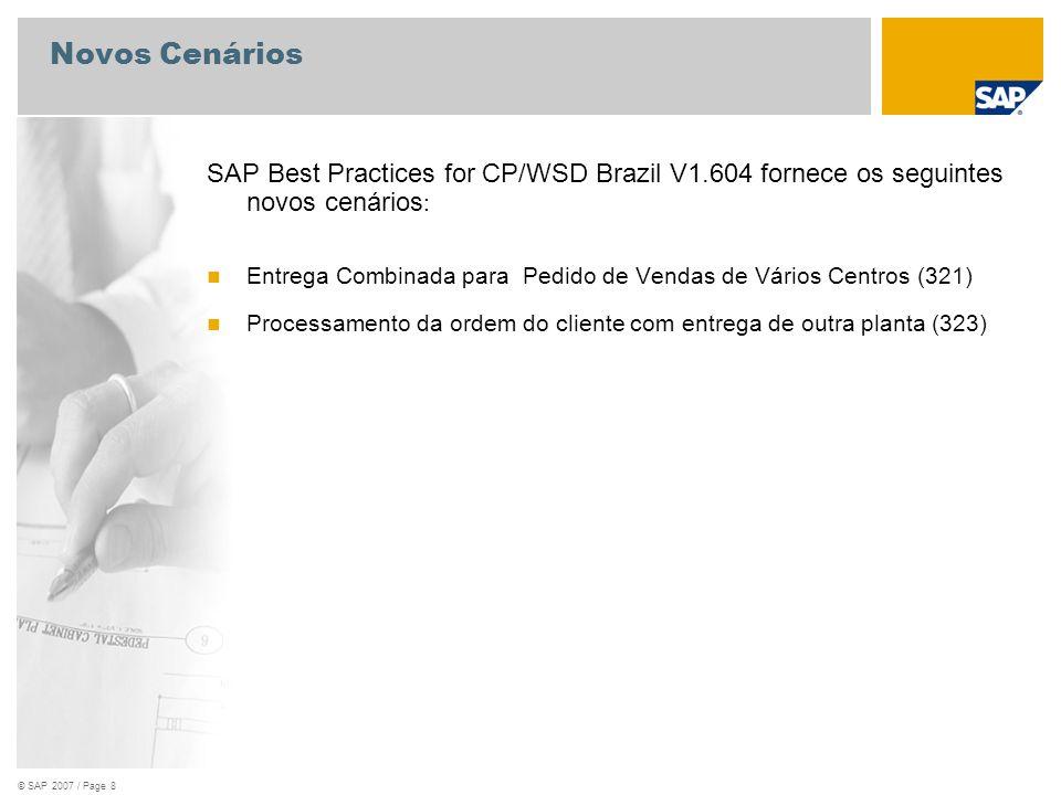 © SAP 2007 / Page 8 Novos Cenários SAP Best Practices for CP/WSD Brazil V1.604 fornece os seguintes novos cenários : Entrega Combinada para Pedido de