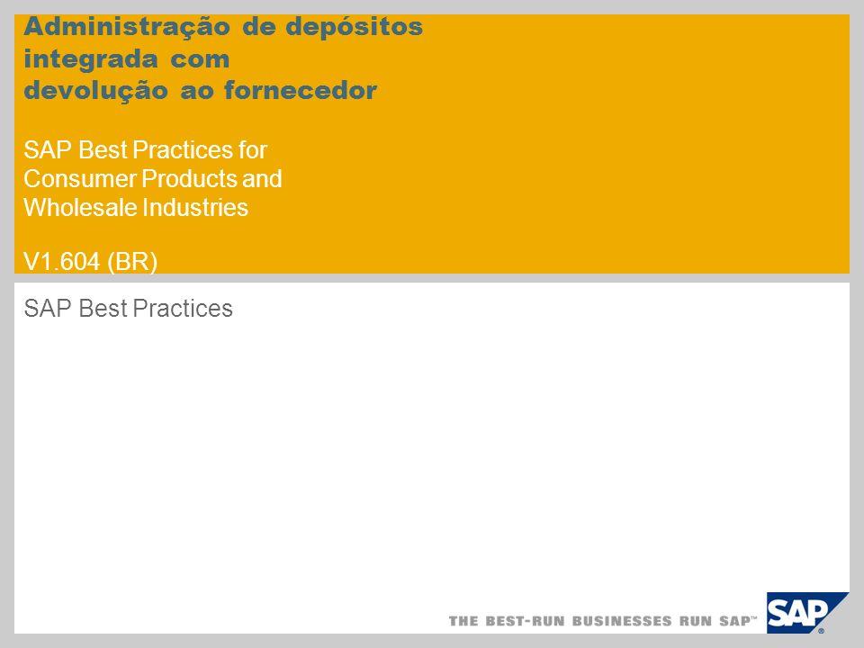 Administração de depósitos integrada com devolução ao fornecedor SAP Best Practices for Consumer Products and Wholesale Industries V1.604 (BR) SAP Bes