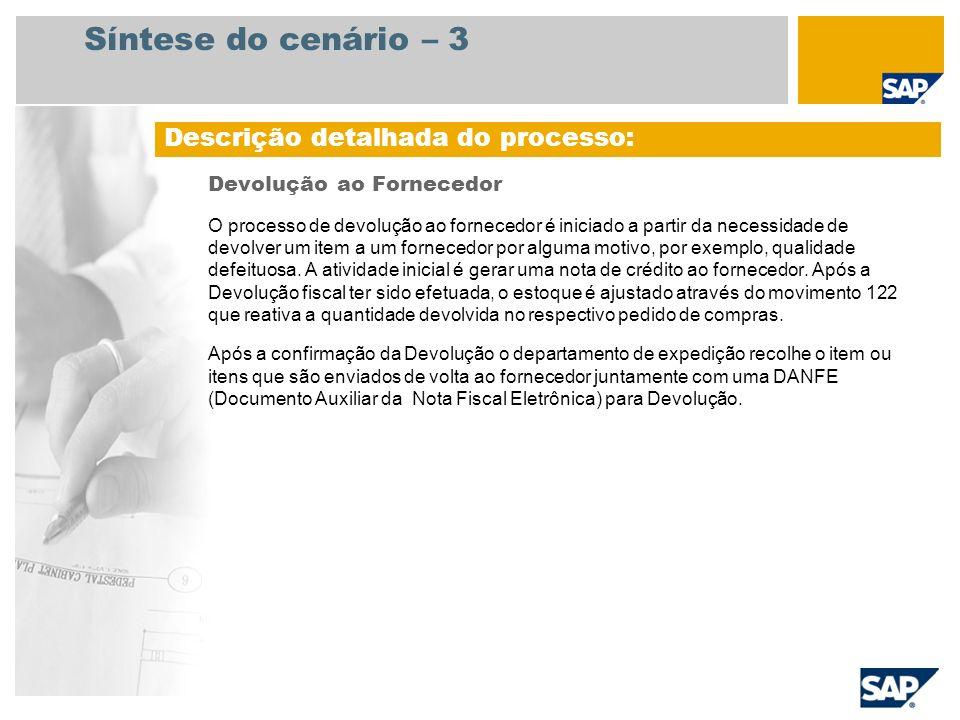 Síntese do cenário – 3 Devolução ao Fornecedor O processo de devolução ao fornecedor é iniciado a partir da necessidade de devolver um item a um forne