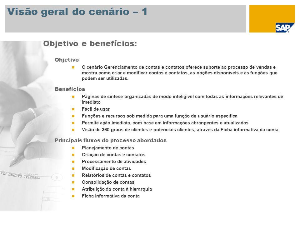 Visão geral do cenário – 1 Objetivo O cenário Gerenciamento de contas e contatos oferece suporte ao processo de vendas e mostra como criar e modificar