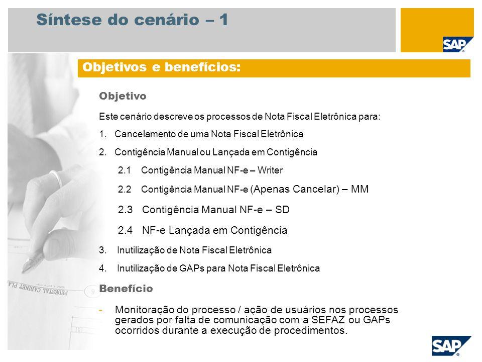 Síntese do cenário – 2 Necessário SAP enhancement package 4 for SAP ERP 6.0 Funções da empresa envolvidas nos fluxos do processo Empregado de Contas a Pagar Encarregado de Depósito Administrador IT Aplicativos SAP necessários: