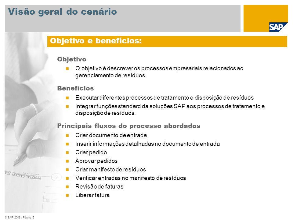 © SAP 2008 / Página 3 Obrigatório SAP EHP3 para SAP ERP 6.0 Funções da empresa envolvidas nos fluxos do processo Especialista em resíduos Gerente de compras Comprador Aplicações SAP obrigatórias: Visão geral do cenário