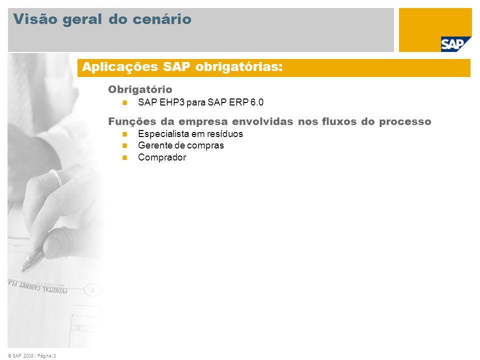 © SAP 2008 / Página 4 Visão geral do cenário Documento de entrada Pedido Manifesto de resíduos Revisão de faturas Requisito empresarial: conformidade com regulamentações nacionais e internacionais de gerenciamento e processamento de resíduos