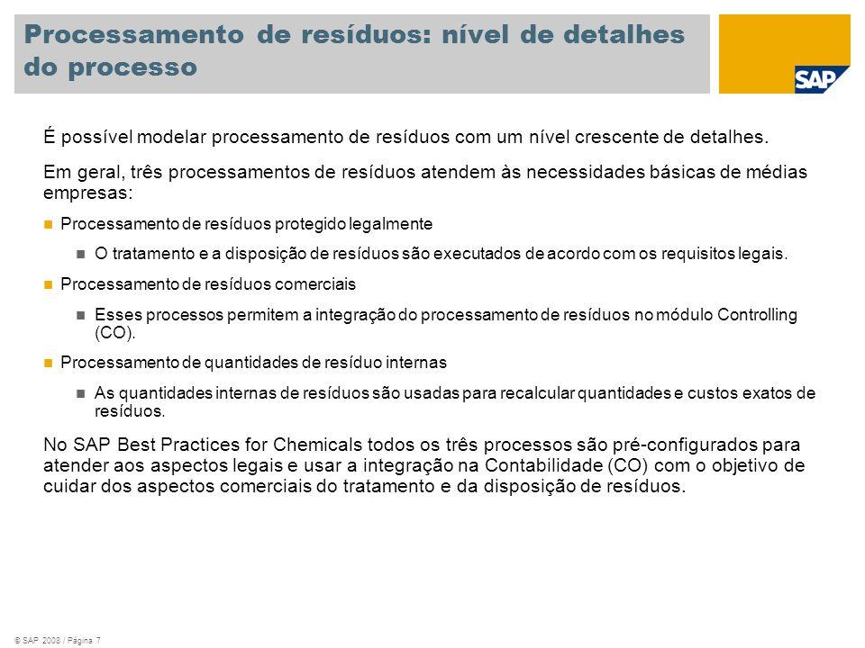 © SAP 2008 / Página 8 Processamento de resíduos protegido legalmente Classificação de resíduos Descoberta de parceiros Comprovante de tratamento e disposição de resíduos 4.