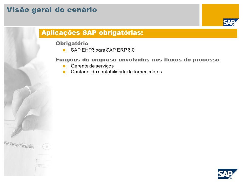 Obrigatório SAP EHP3 para SAP ERP 6.0 Funções da empresa envolvidas nos fluxos do processo Gerente de serviços Contador da contabilidade de fornecedor