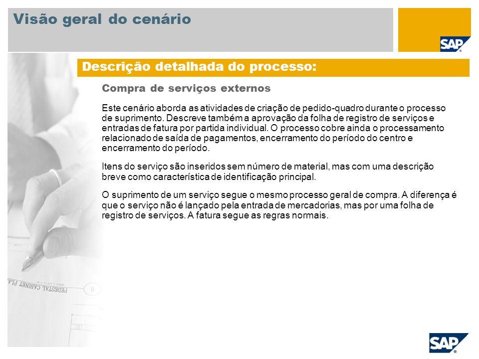 Compra de serviços externos Este cenário aborda as atividades de criação de pedido-quadro durante o processo de suprimento. Descreve também a aprovaçã