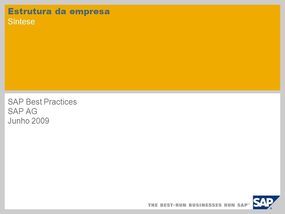 Estrutura da empresa Síntese SAP Best Practices SAP AG Junho 2009