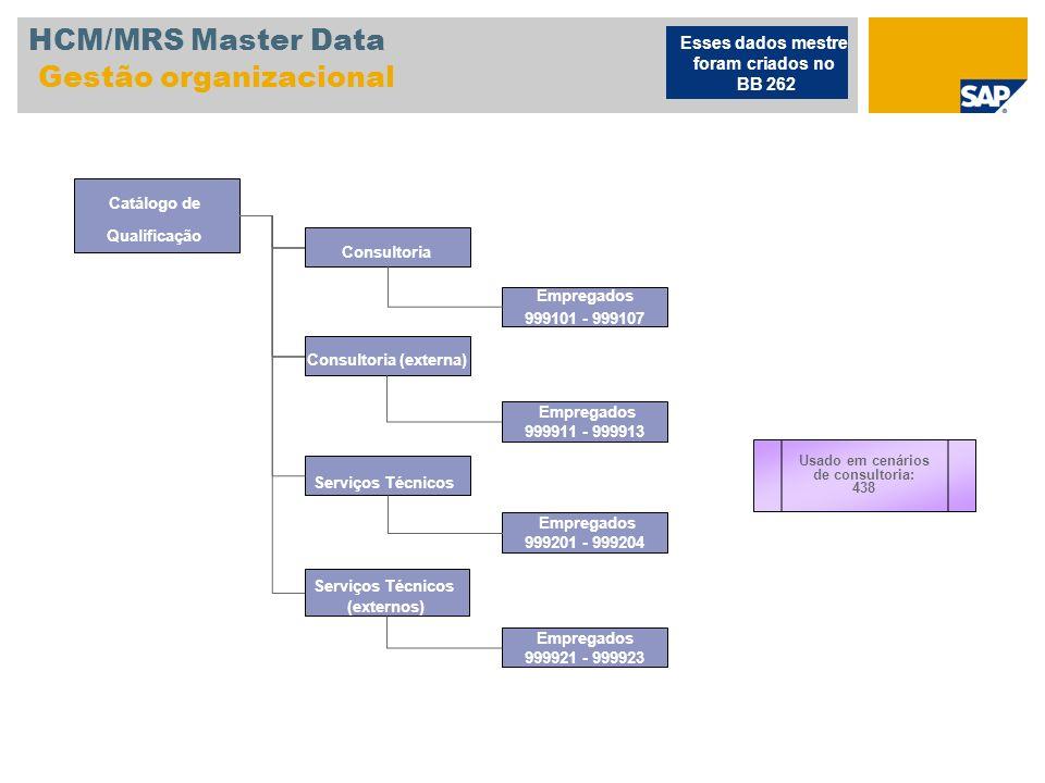HCM/MRS Master Data Gestão organizacional Catálogo de Qualificação Consultoria Consultoria (externa) Usado em cenários de consultoria: 438 Serviços Té