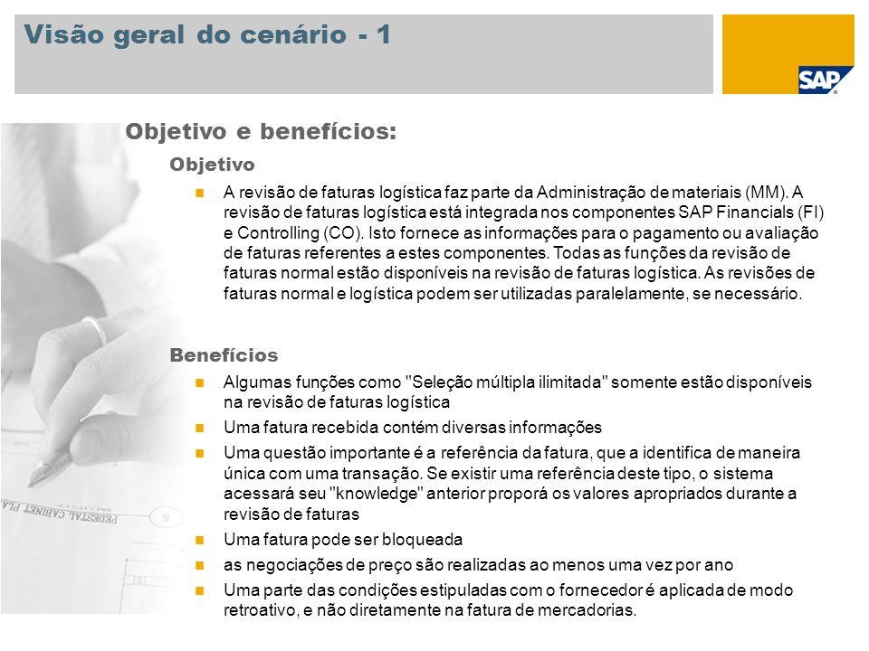 Visão geral do cenário - 1 Objetivo A revisão de faturas logística faz parte da Administração de materiais (MM). A revisão de faturas logística está i