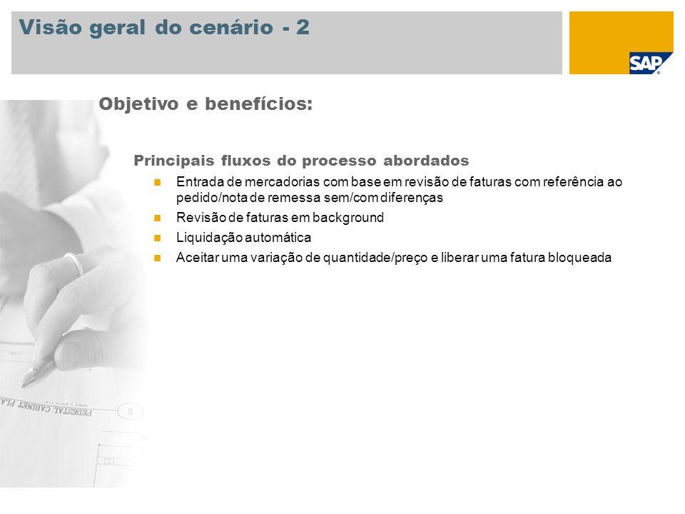 Visão geral do cenário - 2 Principais fluxos do processo abordados Entrada de mercadorias com base em revisão de faturas com referência ao pedido/nota