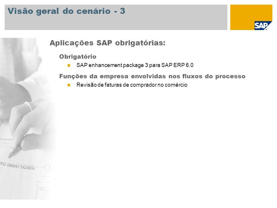 Visão geral do cenário - 3 Obrigatório SAP enhancement package 3 para SAP ERP 6.0 Funções da empresa envolvidas nos fluxos do processo Revisão de fatu