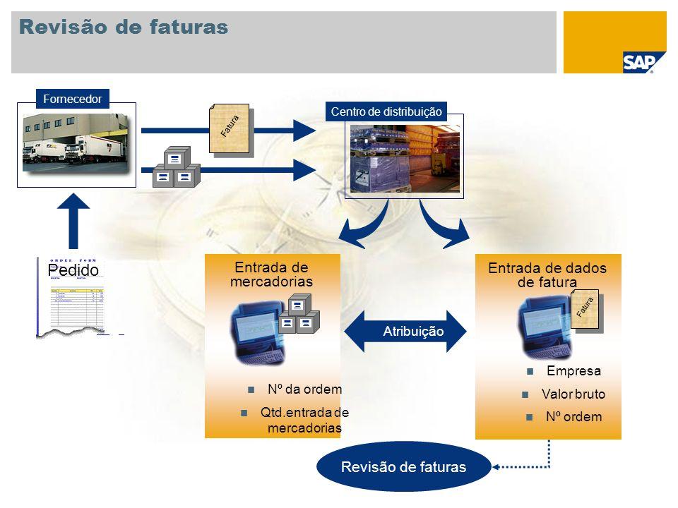 Revisão de faturas Atribuição Revisão de faturas Fornecedor Centro de distribuição Entrada de mercadorias Nº da ordem Qtd.entrada de mercadorias Entra