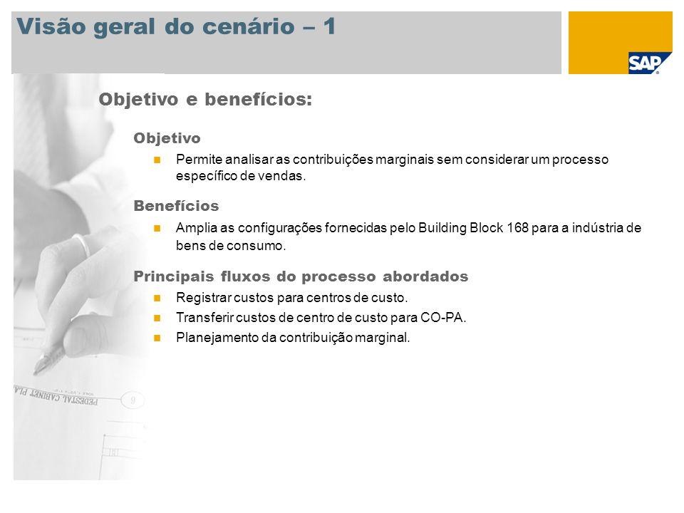 Visão geral do cenário – 1 Objetivo e benefícios: Objetivo Permite analisar as contribuições marginais sem considerar um processo específico de vendas
