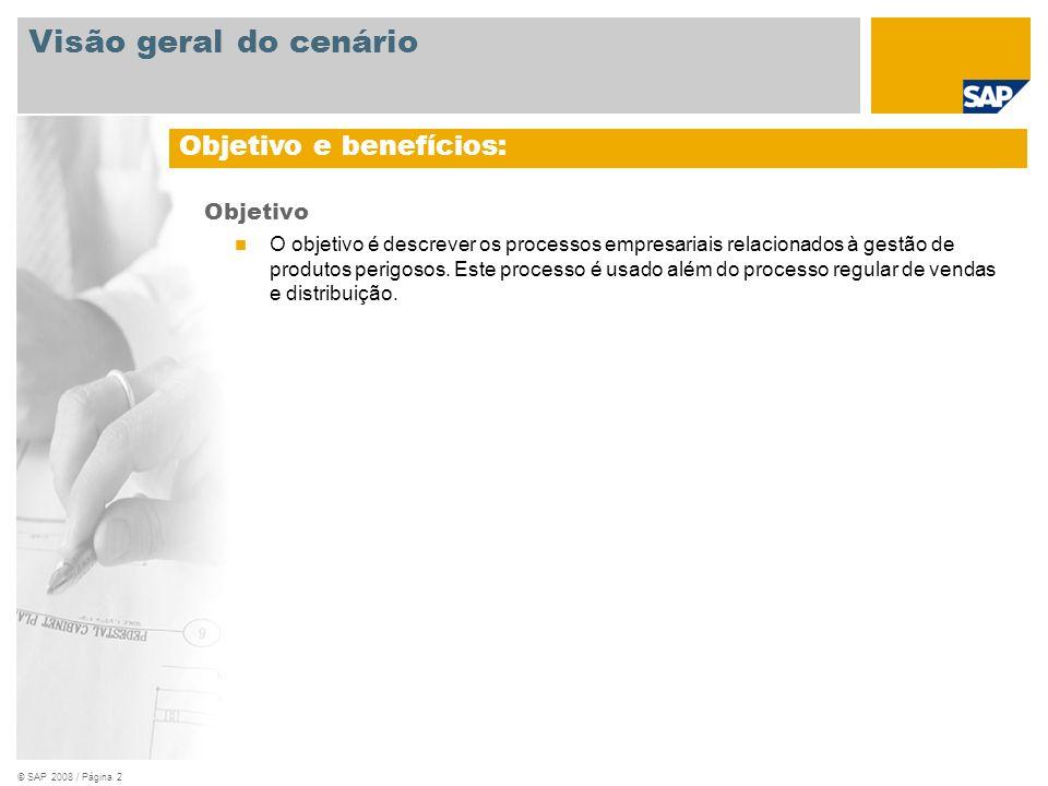 © SAP 2008 / Página 2 Objetivo O objetivo é descrever os processos empresariais relacionados à gestão de produtos perigosos. Este processo é usado alé