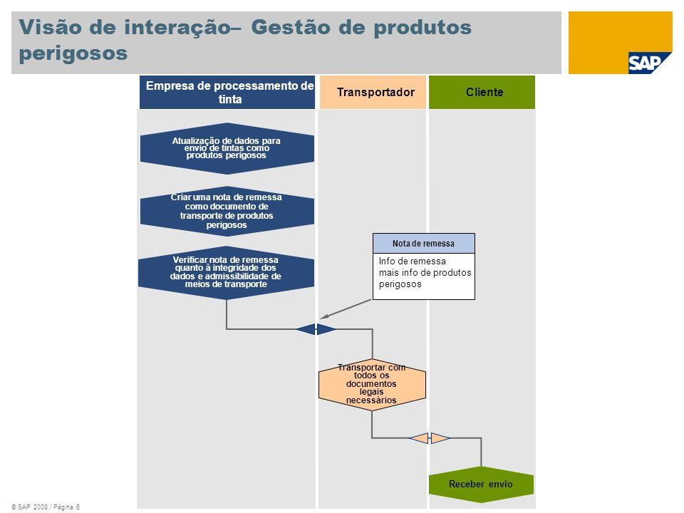 © SAP 2008 / Página 6 Cliente Empresa de processamento de tinta Criar uma nota de remessa como documento de transporte de produtos perigosos Verificar