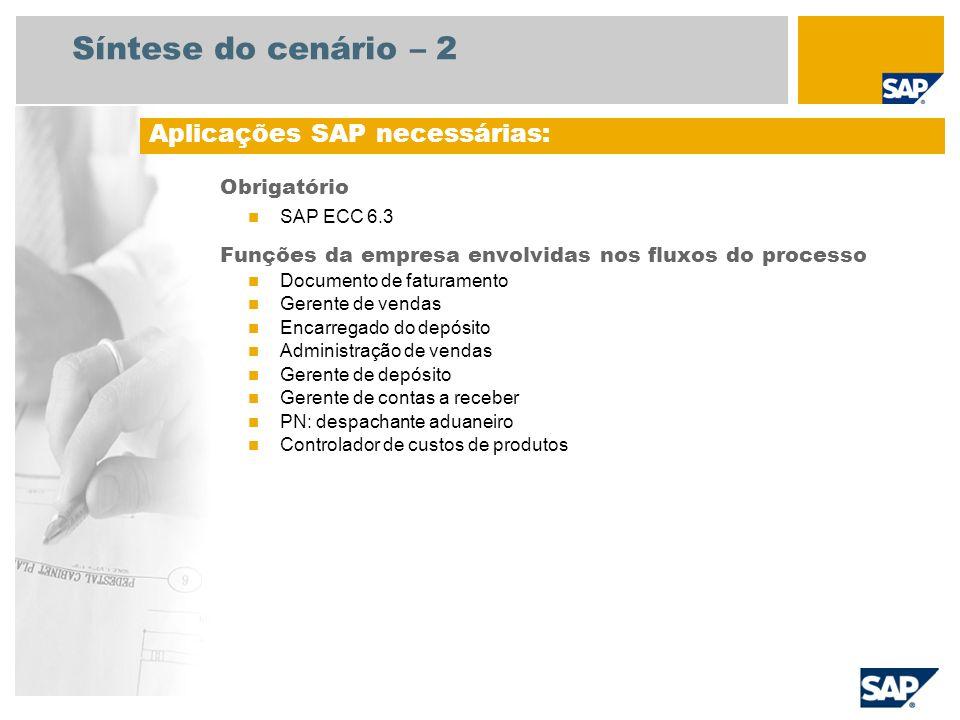 Síntese do cenário – 2 Obrigatório SAP ECC 6.3 Funções da empresa envolvidas nos fluxos do processo Documento de faturamento Gerente de vendas Encarre