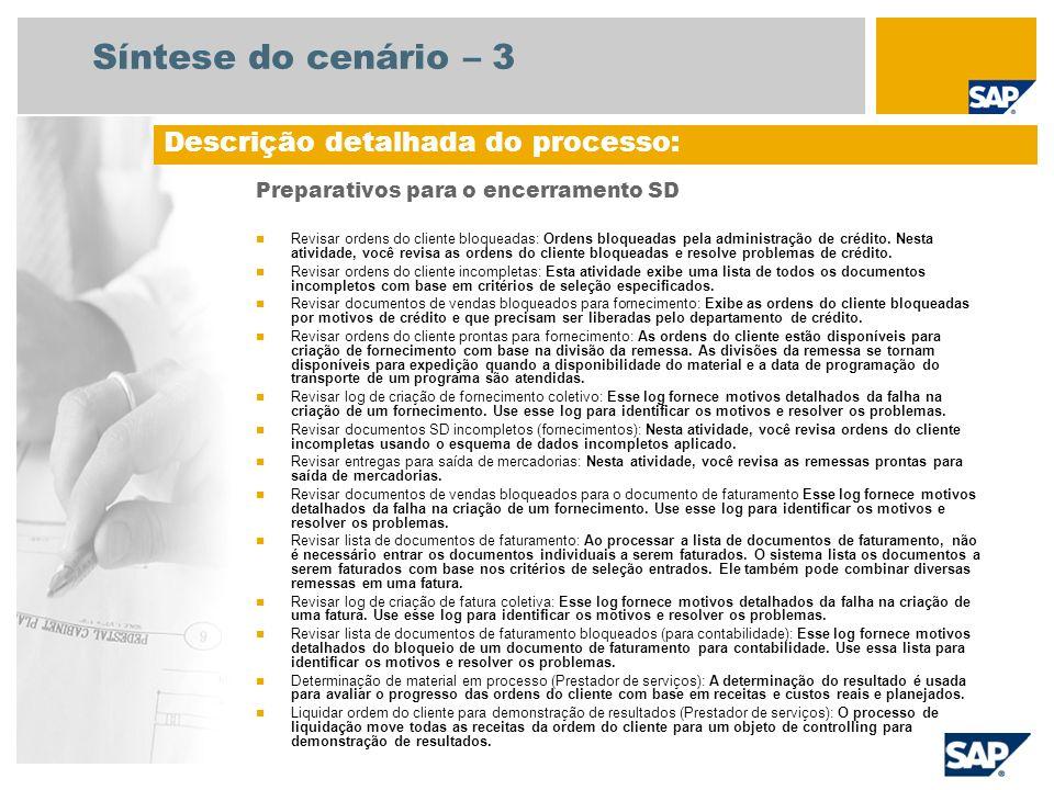 Síntese do cenário – 3 Preparativos para o encerramento SD Revisar ordens do cliente bloqueadas: Ordens bloqueadas pela administração de crédito. Nest