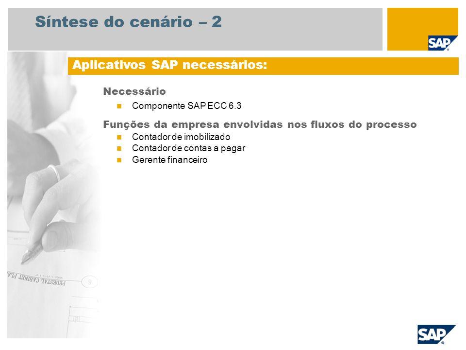 Síntese do cenário – 2 Necessário Componente SAP ECC 6.3 Funções da empresa envolvidas nos fluxos do processo Contador de imobilizado Contador de cont