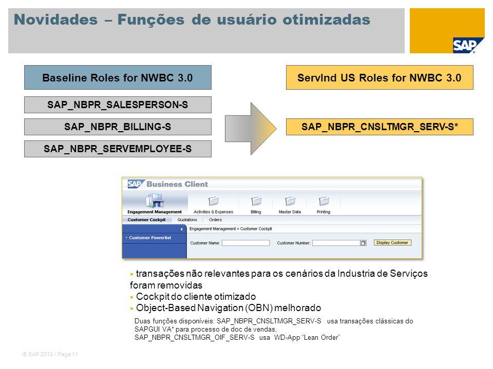 © SAP 2010 / Page 11 Novidades – Funções de usuário otimizadas SAP_NBPR_SALESPERSON-S SAP_NBPR_BILLING-S SAP_NBPR_SERVEMPLOYEE-S Baseline Roles for NW