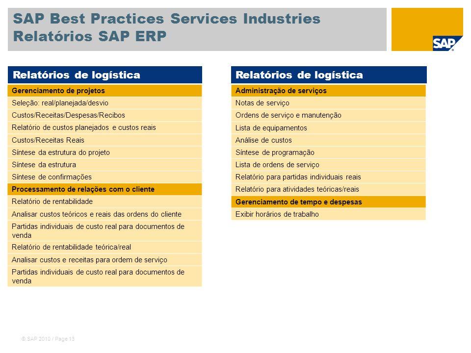 © SAP 2010 / Page 13 SAP Best Practices Services Industries Relatórios SAP ERP Gerenciamento de projetos Seleção: real/planejada/desvio Custos/Receita
