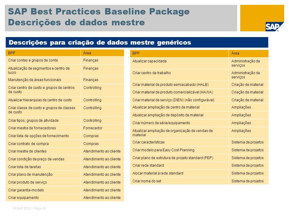 © SAP 2010 / Page 15 SAP Best Practices Baseline Package Descrições de dados mestre BPPÁrea Criar contas e grupos de contaFinanças Atualização de segm