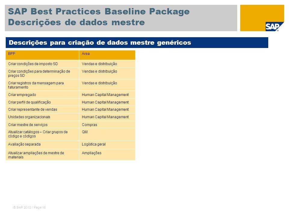 © SAP 2010 / Page 16 SAP Best Practices Baseline Package Descrições de dados mestre Descrições para criação de dados mestre genéricos BPPÁrea Criar co