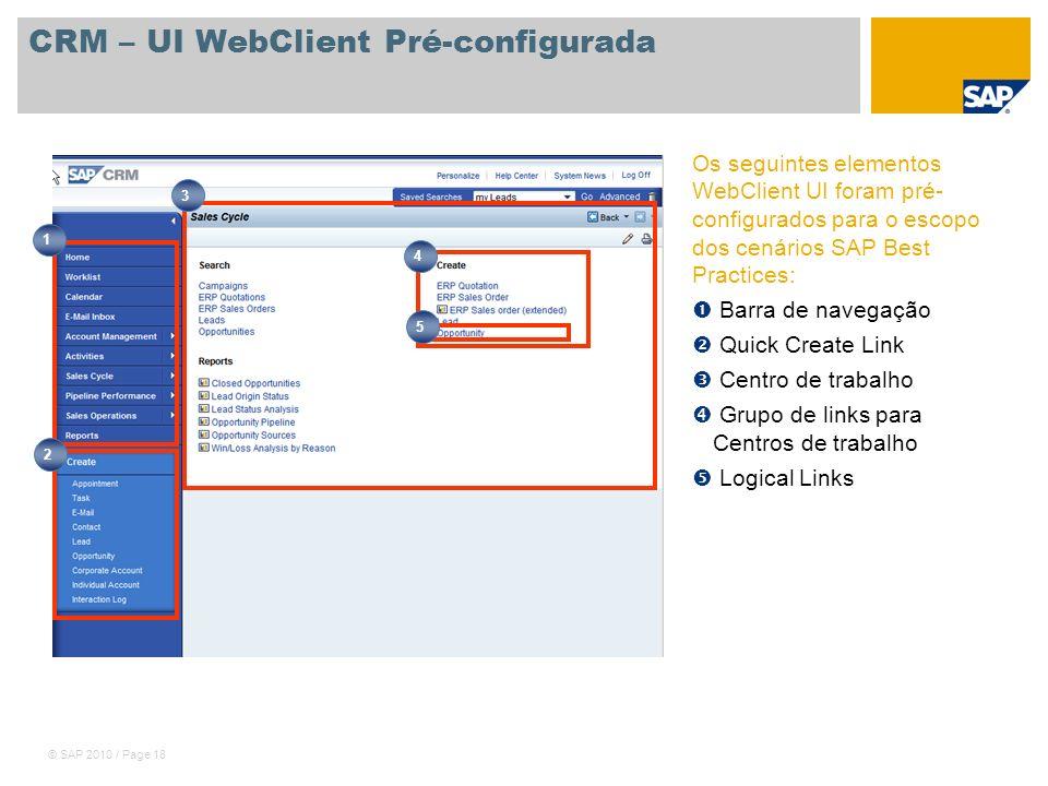© SAP 2010 / Page 18 CRM – UI WebClient Pré-configurada Os seguintes elementos WebClient UI foram pré- configurados para o escopo dos cenários SAP Bes