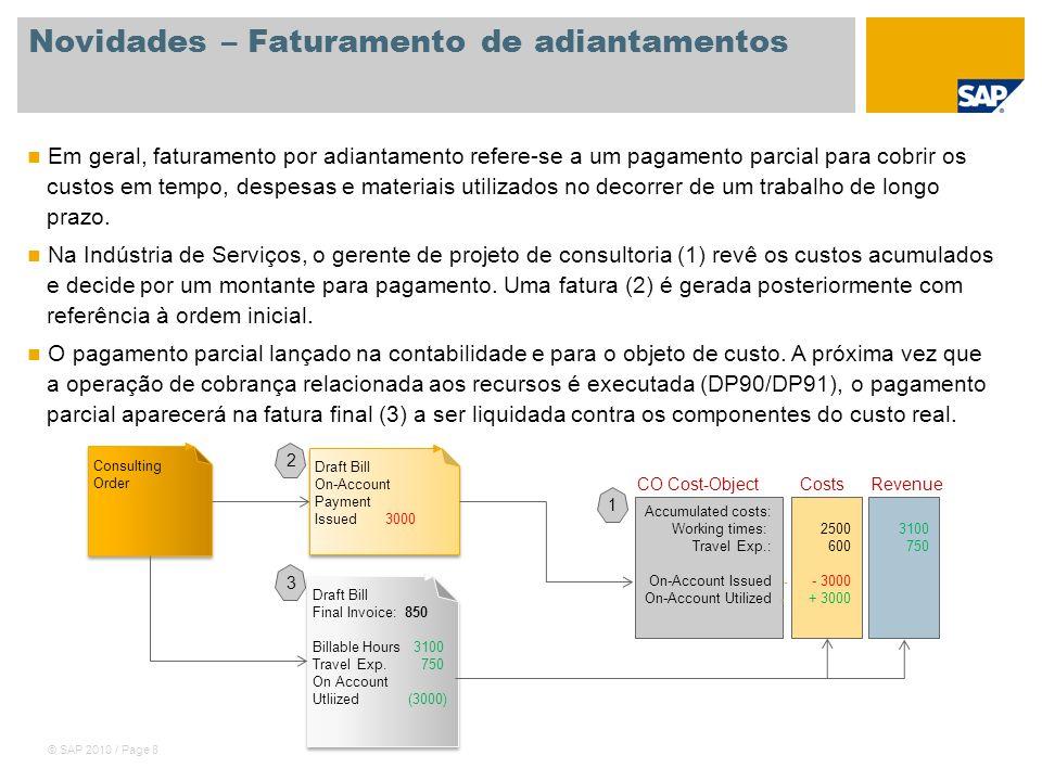 © SAP 2010 / Page 9 Novidades – Cockpit do cliente O cockpit do cliente, juntamente com suas consultas integradas, proporciona uma visão global de todos os processos em curso envolvendo um cliente específico, por exemplo, cotações em aberto, pedidos em aberto, faturamentos a fazer.