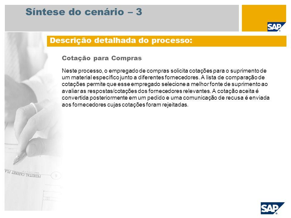 Síntese do cenário – 3 Cotação para Compras Neste processo, o empregado de compras solicita cotações para o suprimento de um material específico junto