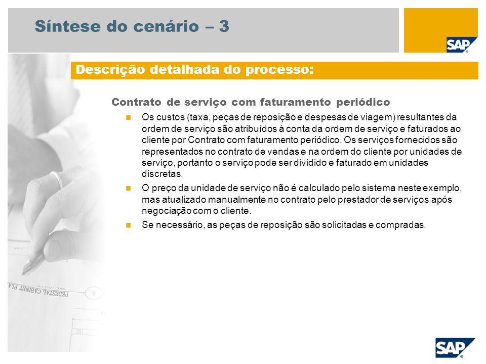 Síntese do cenário – 3 Contrato de serviço com faturamento periódico Os custos (taxa, peças de reposição e despesas de viagem) resultantes da ordem de