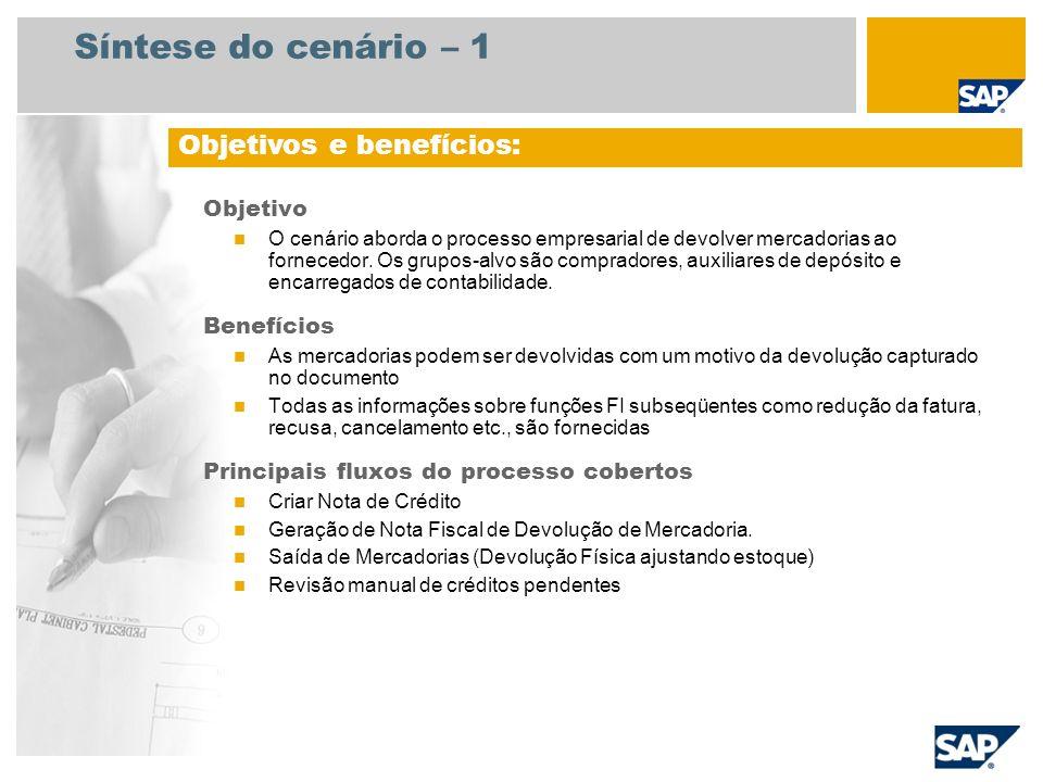 Síntese do cenário – 2 Necessário SAP ECC 6.3 Funções da empresa envolvidas nos fluxos do processo Comprador Encarregado do depósito Encarregados de contabilidade Aplicativos SAP necessários: