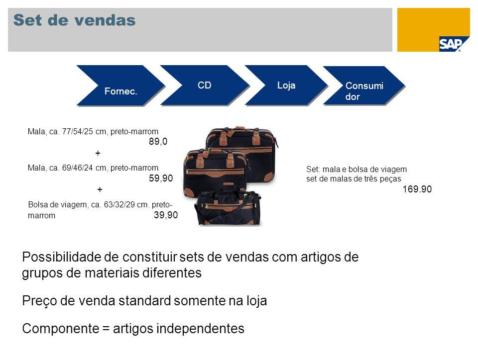 Set de vendas Fornec. CD Loja Consumi dor Mala, ca. 77/54/25 cm, preto-marrom 89,0 + Mala, ca. 69/46/24 cm, preto-marrom 59,90 + Bolsa de viagem, ca.